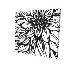 Canvas 24 x 24 - 3D - Dahlia flower outline style