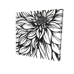 Canvas 24 x 24 - 3D - Dahlia flower outline style