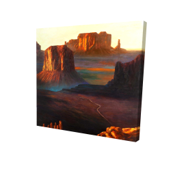 Canvas 24 x 24 - 3D - Monument valley tribal park in arizona