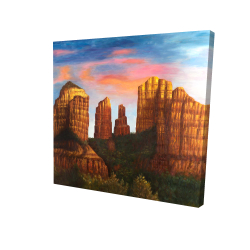 Canvas 24 x 24 - 3D - Cathedral rock in arizona