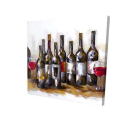 Canvas 24 x 24 - 3D - Red wine bottles