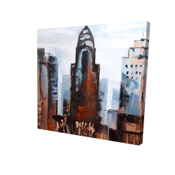 Canvas 24 x 24 - 3D - Sullen day in the city