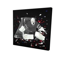 Canvas 24 x 24 - 3D - Goalkeeper hockey goal