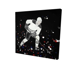 Canvas 24 x 24 - 3D - Hockey player ready for action