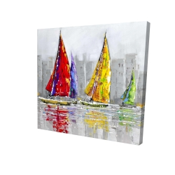 Canvas 24 x 24 - 3D - Sailboats in the wind