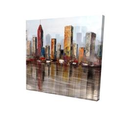 Canvas 24 x 24 - 3D - Rust looking city