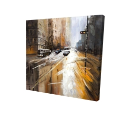 Canvas 24 x 24 - 3D - Abstract city street