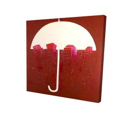 Red city under umbrella