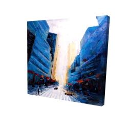 Canvas 24 x 24 - 3D - Blue asymmetrical street