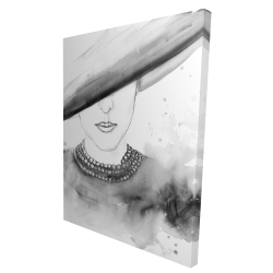 Canvas 36 x 48 - 3D - Mysterious lady with a hat