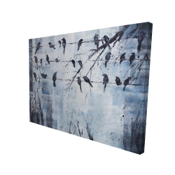 Canvas 36 x 48 - 3D - Abstract birds on electric wire