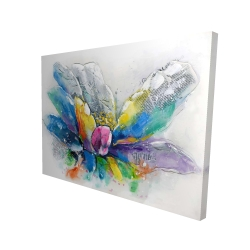 Canvas 36 x 48 - 3D - Abstract flower with newspaper