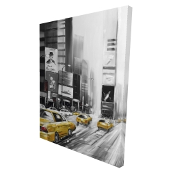 Canvas 36 x 48 - 3D - Times square and yellow taxis