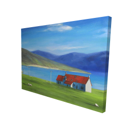Canvas 36 x 48 - 3D - Scottish highlands with a little red roof house