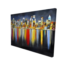 Canvas 36 x 48 - 3D - Colorful reflection of a cityscape by night