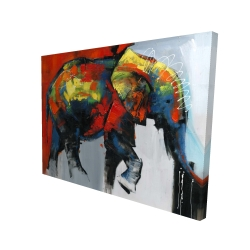 Canvas 36 x 48 - 3D - Abstract and colorful elephant in motion