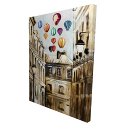 Canvas 36 x 48 - 3D - Gloomy street with colorful hot-air balloons