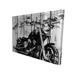Canvas 36 x 48 - 3D - Motorcycle grey and black