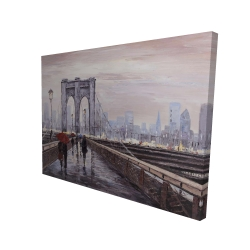 Canvas 36 x 48 - 3D - Brooklyn bridge with passersby