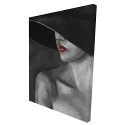 Canvas 36 x 48 - 3D - Mysterious woman with a hat