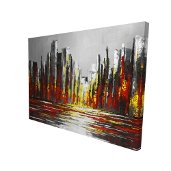 Canvas 36 x 48 - 3D - Abstract red skyline