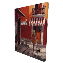 Canvas 36 x 48 - 3D - Lady walking down the street