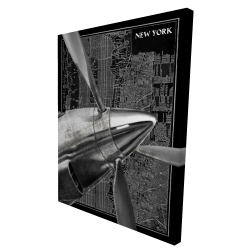 Canvas 36 x 48 - 3D - Airplane flying over new york