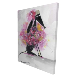 Canvas 36 x 48 - 3D - Cartoon dog with pink flowers