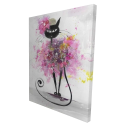 Canvas 36 x 48 - 3D - Cartoon cat with pink flowers