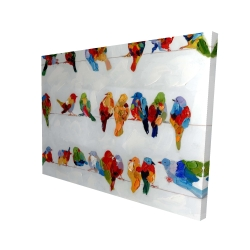 Canvas 36 x 48 - 3D - A lot of colorful birds on a wire