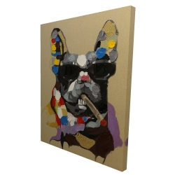Canvas 36 x 48 - 3D - Abstract smoking dog
