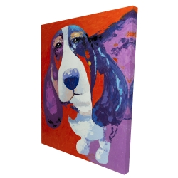 Canvas 36 x 48 - 3D - Abstract colorful basset dog