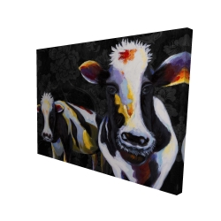 Canvas 36 x 48 - 3D - Two funny cows victorian