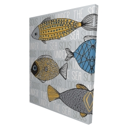 Canvas 36 x 48 - 3D - Fishes' illustration