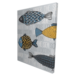 Canvas 36 x 48 - 3D - Illustration of nautical fish