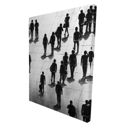 Canvas 36 x 48 - 3D - Silhouettes of people on the street