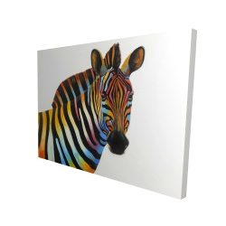 Canvas 36 x 48 - 3D - Colorful profile view of a zebra