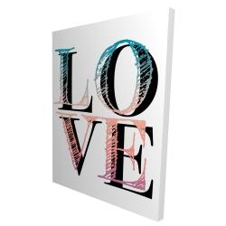 Toile 36 x 48 - 3D - Amour coloré