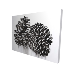 Canvas 36 x 48 - 3D - Three small pine cones