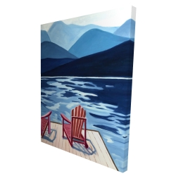 Canvas 36 x 48 - 3D - Lake, dock, mountains & chairs
