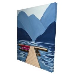 Canvas 36 x 48 - 3D - Lake, quai & mountains