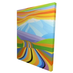 Canvas 36 x 48 - 3D - Mountain road multicolored