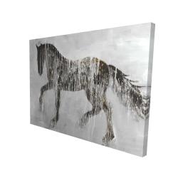 Canvas 36 x 48 - 3D - Horse brown silhouette
