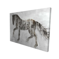 Canvas 36 x 48 - 3D - Horse brown silhouette