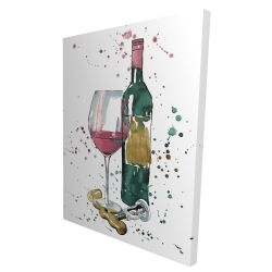 Canvas 36 x 48 - 3D - Bottle of red wine