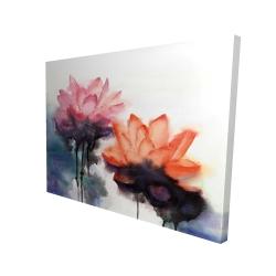 Canvas 36 x 48 - 3D - Watercolor lotus flowers