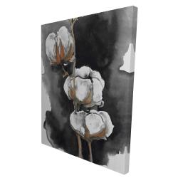 Canvas 36 x 48 - 3D - Watercolor cotton flowers