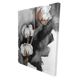 Canvas 36 x 48 - 3D - Cotton flowers on a black background