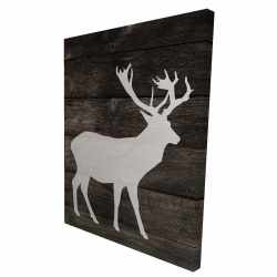 Canvas 36 x 48 - 3D - Deer on wood background