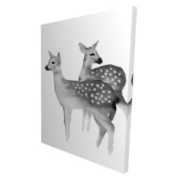 Canvas 36 x 48 - 3D - Faon black and white